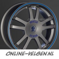 Sparco Rally Matt Silver Tech Blue Lip velgen